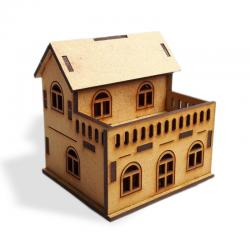 Balkonlu Ev 3D Ahşap Maket