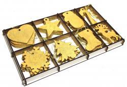 Altın Rengi Yılbaşı Ağacı Süsü 8 Model Ahşap Kutuda, 32 Adet