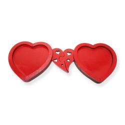2'li Ahşap Kalp Bardak Altlığı