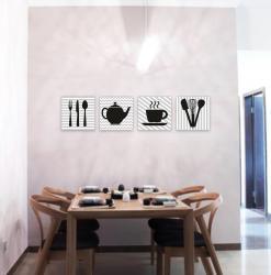Mutfak Temalı 4'lü Tablo Set
