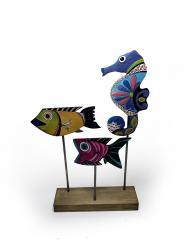 Ahşap Dekoratif Ayaklı Denizaltı ve Balıklar Seti