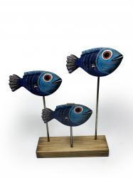 Ahşap Dekoratif Ayaklı Mavi Balık Ailesi