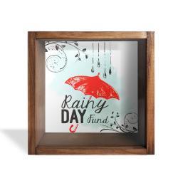 Camlı Ahşap Kumbara Kırmızı Şemsiyeli