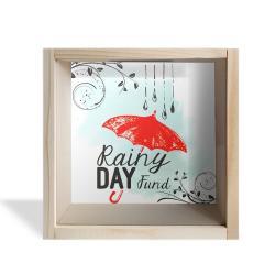Camlı Ahşap Kumbara Kırmızı Şemsiyeli Ham Ahşap