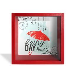 Camlı Ahşap Kumbara Kırmızı Şemsiyeli Kırmızı