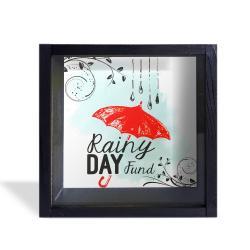 Camlı Ahşap Kumbara Kırmızı Şemsiyeli Siyah
