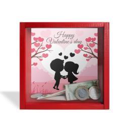"Camlı Ahşap Kumbara Happy Valentine's Day ""Kırmızı"""