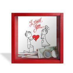 """Camlı Ahşap Kumbara I Love You """"Kırmızı"""""""