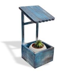 Çatılı Dekoratif Beton Saksı Standı, Mavi Eskitme Desenli