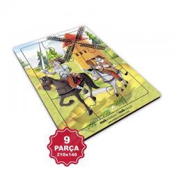 Çocuk Klasikleri 9 Parça Küçük Ahşap Puzzle Model 4