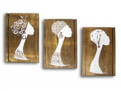 Ahşap Afrikalı Kadın Figürlü Tablo Set HK960