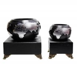 Dünya Beton Saksı 2'li Set Siyah Gümüş, Metal Ayaklı Ahşap Stand