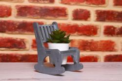 HK Dekor Lora Sallanan Sandalye Çiçeklik - Gri