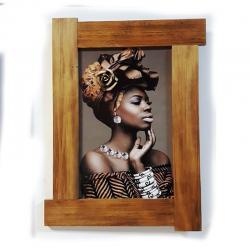 3D Şapkalı Siyahi Kadın Ahşap Tablo HK0008