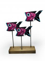 Ahşap Dekoratif Ayaklı Ağzı Açık Balıklar
