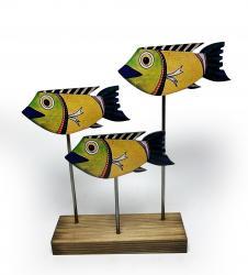 Ahşap Dekoratif Ayaklı Sarı Balık Ailesi