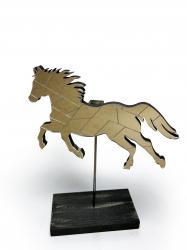 Dekoratif Aynalı Ahşap At - Altın