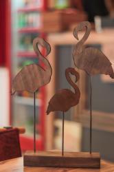 HK Dekor Ahşap Ayaklı Flamingo Ailesi
