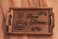 HK Mutfak Tea Time Ahşap Tepsi