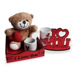 Kırmızı Kasalı Sevgililer Günü Hediye Seti, Kupa Bardaklı