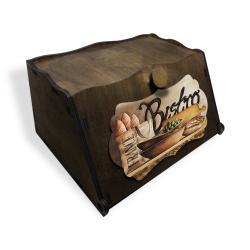 Vintage Ahşap Ekmek Kutusu Bistro Baskılı