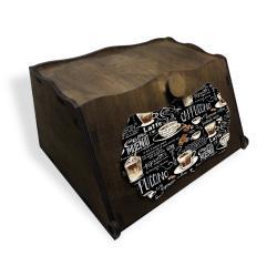 Vintage Ahşap Ekmek Kutusu Cappuccino Baskılı