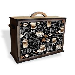 Vintage Çok Amaçlı Ahşap Kutu Vintage Cappuccino Baskılı