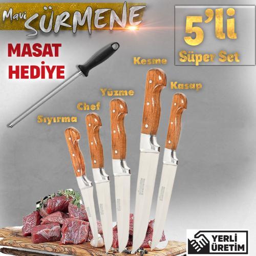 5'li Ahşap Sürmene Bıçak Seti