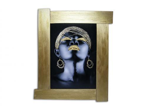 3D Altın Varaklı Kadın Portre Ahşap Tablo