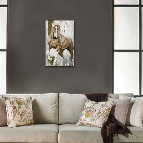 Vera Kahverengi Koşan At Baskılı Ahşap Tablo