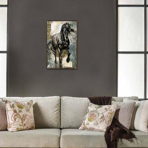 Vera Siyah Koşan At Baskılı Ahşap Tablo Model 2