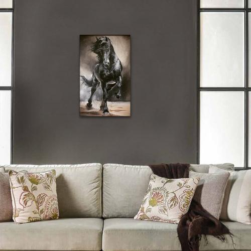 Vera Siyah Koşan At Baskılı Ahşap Tablo Model 1