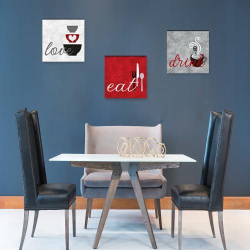 3'lü Ahşap Mutfak Tablosu Eat, Drink, Love - Model 2