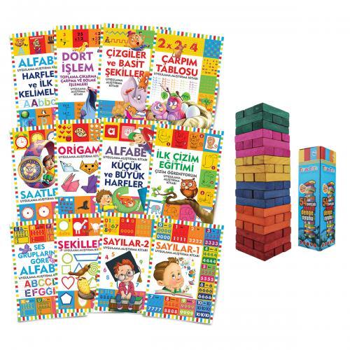 Çocuklar İçin Etkinlik Kitapları Seti - 12 Kitap ve Renkli Denge Oyunu