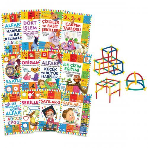 Çocuklar İçin Etkinlik Kitapları Seti - 12 Kitap ve Sihirbaz Çubuklar
