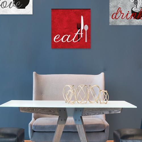 3'lü Ahşap Mutfak Tablosu Eat, Drink, Love - Model 2 - -Halkkitabevi