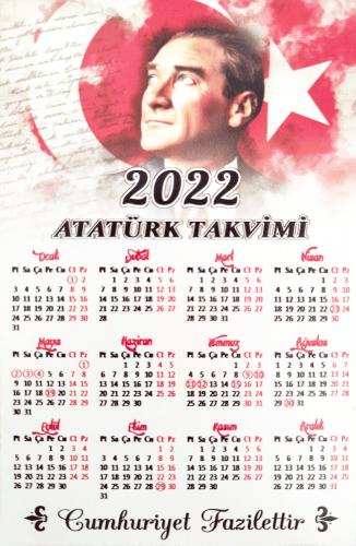2022 Ahşap Duvar Takvimi - Renkli Atatürk Baskılı