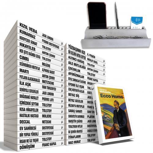 Büyük Dünya Klasikleri Kütüphanesi Seti - 40 Kitap ve Beton Masaüstü Düzenleyici