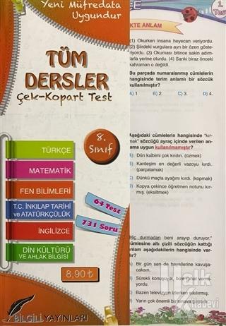 8. Sınıf Tüm Dersler Çek Kopart Yaprak Test