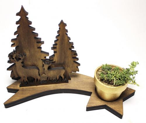 Ahşap Ağaç, Geyik ve Kayan Yıldızlı Beton Saksılık