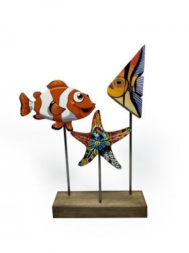 Ahşap Dekoratif Ayaklı Nemo ve Balıklar