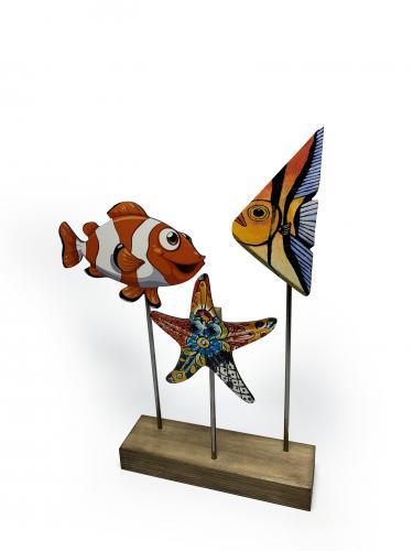 Ahşap Dekoratif Ayaklı Nemo ve Balıklar - -Halkkitabevi