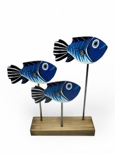 Ahşap Dekoratif Ayaklı Tombul Mavi Balıklar