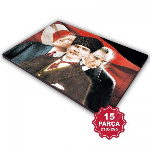 Atatürk 15 Parça Büyük Ahşap Puzzle Model 5
