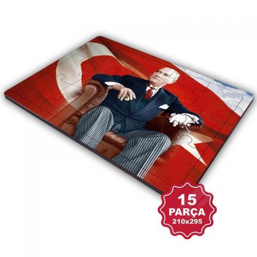 Atatürk 15 Parça Büyük Ahşap Puzzle Model 6