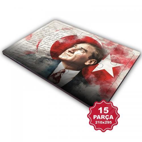 Atatürk 15 Parça Büyük Ahşap Puzzle Model 7