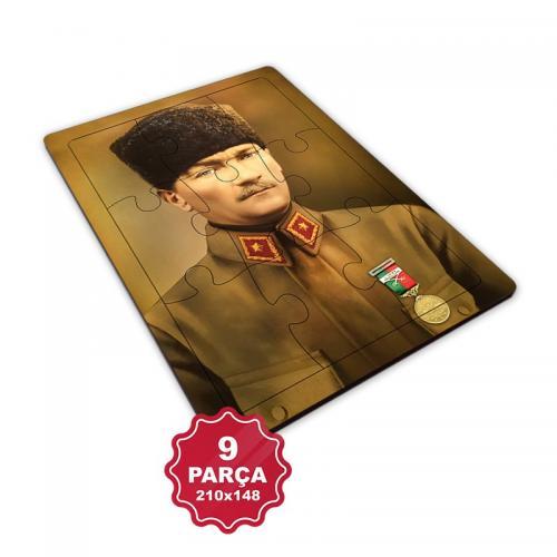 Atatürk 9 Parça Küçük Ahşap Puzzle Model 1