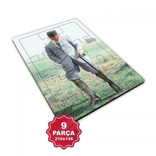 Atatürk 9 Parça Küçük Ahşap Puzzle Model 2