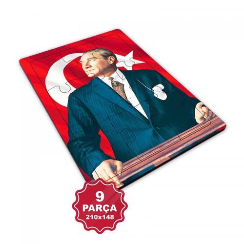 Atatürk 9 Parça Küçük Ahşap Puzzle Model 4