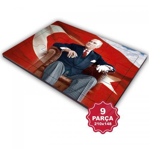 Atatürk 9 Parça Küçük Ahşap Puzzle Model 6